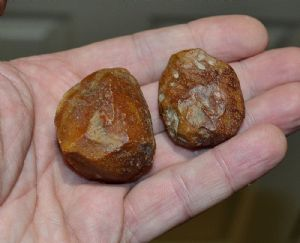An attractive pair of Paleolithic Neanderthal small flint hammer tools, France 1960's. SOLD